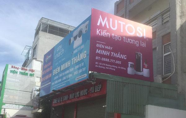 Lắp đặt biển hiệu hãng lọc nước Mutosi tại Hải Phòng